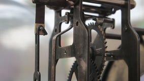 Vintage clock gears mechanism stock video