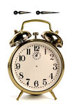 Vintage Clock with Hour and Minute Hands. Vintage alarm clock isolated over white - hour and minute hands have clipping paths, so you can create your own time Stock Images