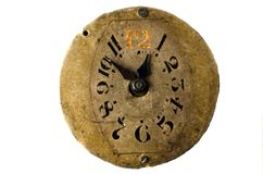 Vintage clock isolated on the white background Royalty Free Stock Image