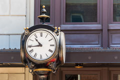 Vintage Clock on Lamp Post Stock Photo