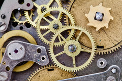 Vintage clock mechanism with gears. Cog wheels. Stock Photography