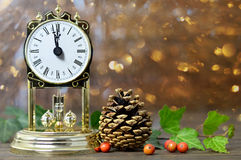 Vintage clock and natural Christmas decoration Royalty Free Stock Photography