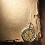 Vintage clock on old paper royalty free stock photos