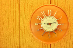 Vintage Clock on paneling stock images
