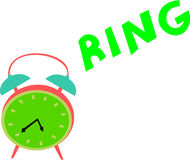 Vintage Clock Rings. A vintage green clock rings out loud in order to wake up someone Stock Photos