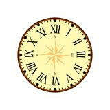 Simple Vintage Clock Vector with Roman Letters as Numbers on the Clockface. Vintage Clock with Roman Letters on White Background vector illustration