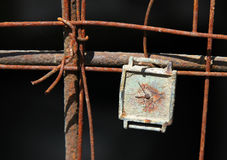 Vintage clock on a rusty lattice Royalty Free Stock Photography