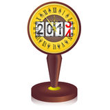 Vintage  clock. Shortly before midnight with 2014 New Year counter  on white background. Vector  illustration Stock Images