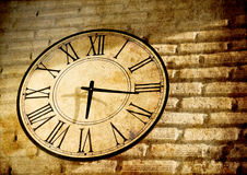 Vintage clock wall in grunge background Stock Images
