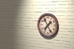 Vintage clock on white brick wall. 3d rendering of an illuminated vintage clock on white brick wall Royalty Free Stock Image