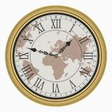 Vintage clock with World map. Antique golden wall clock-face dial with Roman numeral. Vector. vector illustration