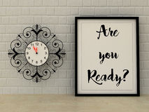 Vintage clock  Are you ready poster in frame. Motivational Inspirational quote. Changes, Choice concept. Scandinavian style home i Stock Photo