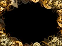 Vintage clocks black background frame Royalty Free Stock Photo