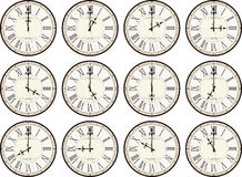 Vintage clocks different times Royalty Free Stock Photo