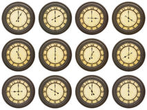 Vintage 12 clocks isolated white collage Stock Images