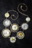 Vintage Clocks. Old Vintage Jewelery Antique Rare Necklace Clocks royalty free stock photography