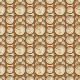 Vintage Clocks Seamless Pattern Design Stock Image