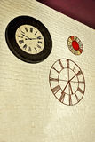 Vintage clocks. At white wall,interior design of modern restaurant stock photos