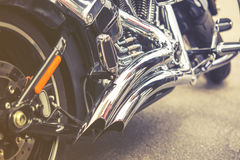 Vintage close up of motorcycle exhaust, Stock Images