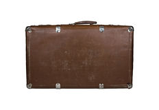 Vintage closed brown leather suitcase Stock Images