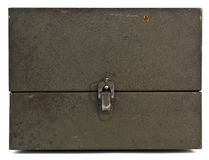 Vintage closed green metal case. . Stock Photo