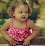Vintage closeup portrait of baby girl Stock Photo