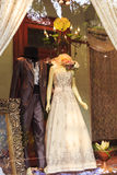 Wedding dress clothing store window, fashion shop clothes display Royalty Free Stock Images
