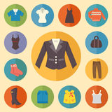 Vintage clothes Icons Flat style. Vector illustration.  Stock Images