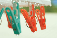 Vintage clothespin on rainyday with selective focus on peg. Vintage color adjustment stock image