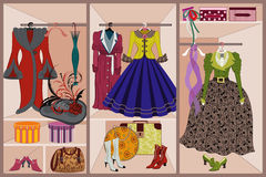 Vintage clothing. Vector illustration of wardrobe with vintage clothing stock illustration