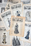 Vintage clothing. Nostalgic fashion background. Victorian french fashion magazine La Mode Illustree from ca. 1898-1900. Vintage clothing. Nostalgic fashion royalty free stock image