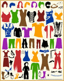 Vintage Clothing Silhouettes and Costumes Royalty Free Stock Photos