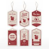 Vintage clothing tags Stock Photos