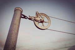 Vintage clothline wheel old style Royalty Free Stock Photos