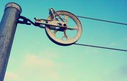 Vintage clothline wheel old style Royalty Free Stock Image