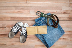 Vintage cloths and accessories on a wooden background Stock Photography