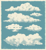 Vintage cloud set - vector illustration