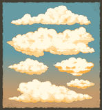 Vintage clouds. Retro sky vector background design set Royalty Free Stock Images