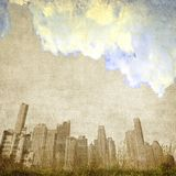 Vintage cloudy city skyline Royalty Free Stock Photography
