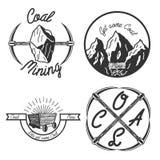 Vintage coal mining emblems Stock Images