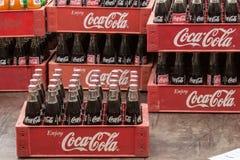 Vintage Coca Cola bottles in red plastic box, Stock Image