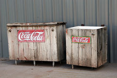 Vintage Coca Cola Coolers. Old wooden refrigeration crates for Coke Royalty Free Stock Image
