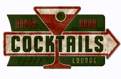 Vintage Cocktail Lounge Sign Happy Hour Cocktails. Tin Metal Antique Bar Grill Martini Party stock image