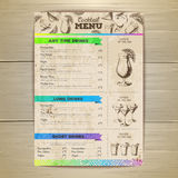 Vintage cocktail menu design. Document template Royalty Free Stock Photo