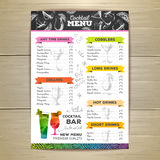 Vintage cocktail menu design. Document template Royalty Free Stock Photos