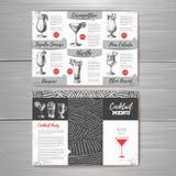 Vintage cocktail menu design. Stock Photos