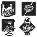Vintage cocktail party emblems Royalty Free Stock Image