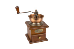 Vintage coffe grinder. Rusty old copper coffemill isolated on white Royalty Free Stock Images