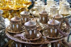 Vintage coffe set at bazaar for sale.  stock photography