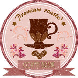 Vintage coffee badge. Vintage pink badge with cup of coffee Stock Photos
